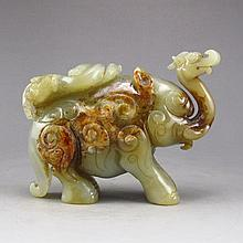 Vintage Hand-carved Chinese Natural Hetian Jade Statue - Lucky Elephant