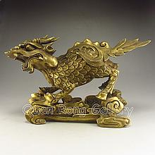 Chinese Brass Carved Lucky Kylin Statue