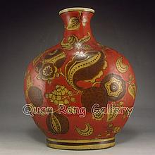 Vintage Hand-painted Chinese Five Color Porcelain Vase