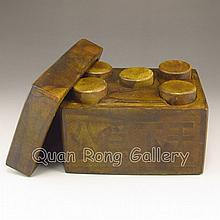 Min Guo Period Hand Carved Chinese A Set Natural Jade Bank Seals w  Box