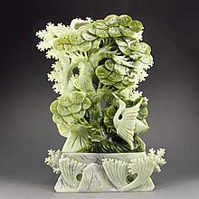 Superb Hand Carved Chinese Natural Jade Statue - Crane & Pine Tree