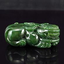 Hand Carved Chinese Natural Green Hetian Jade Pendant - Fortune Beast