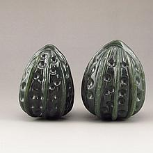 A Pair Hand Carved Chinese Natural Green Hetian Jade Walnuts Statue