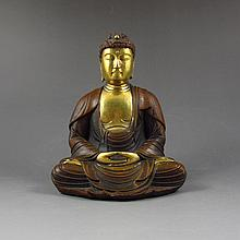 Chinese Gold-Plated Red Copper Buddha Statue Siddhartha