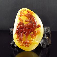 Hand Carved Chinese Natural Jade Pendant w Dragon