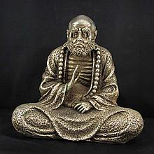Vintage Chinese White Copper Statue - Dharma