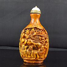 Vintage Hand Carved Chinese Deer Horn Snuff Bottle