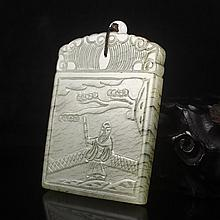 Hand Carved Chinese Natural Hetian Jade Pendant w Man & Pine Tree