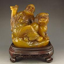 Vintage Chinese Hand Carved Natural Shoushan Stone Statue - Dharma & Foo Dog