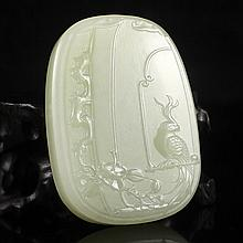 Hand Carved Chinese Natural Hetian Jade Pendant w Bird