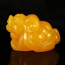 Beautiful Color Hand Carved Indonesia Natural Jin Tian Huang Pendant - Pi Xiu Dragon