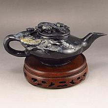 Hand-carved Chinese Natural Hetian Jade Teapot Carved Plum Flower