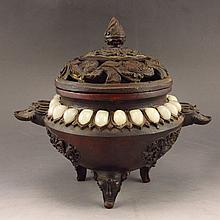 Chinese Ming Dy Style Bronze Inlay Natural White Jade Incense Burner w Yong Le Mark