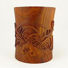 Hand Carved Chinese Natural Huang Hua Li Wood Brush Pot w Orchid