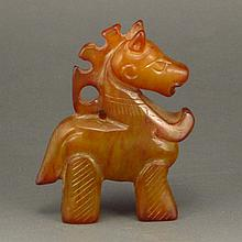 Vintage Hand Carved Chinese Natural Jade Statue - Horse