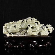 Fine Hand Carved Chinese Natural Hetian Jade Statue - Dragon & Phoenix