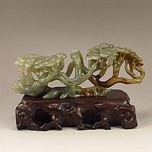 Vintage Hollow Out Carved Chinese Natural Hetian Jade Pine Tree Statue
