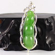 Hand-carved Chinese 925 Silver Inlay Natural Green Hetian Jade Lentil Pendant