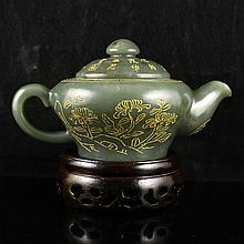 Fine Chinese Natural Hetian Jade Gilded Teapot Carved Poetry