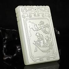 Fine Hand Carved Natural Hetian Jade Pendant w Poet & Poetry