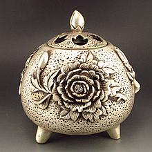 Chinese White Copper Incense Burner w Vivid Flower & Qian Long Mark