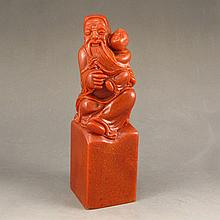 Hand Carved Chinese Natural Shoushan Stone Seal Statue w Old Man & Kid
