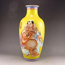 Hand-painted Chinese Gold-plating Famille Rose Porcelain Vase w Big Belly Laughing Buddha & Mark