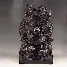 Superb Chinese Natural Black Sanders Wood Statue - Fortune Pigs