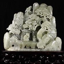 Hand Carved Chinese Natural Hetian Jade Statue w Sages & Pine Tree