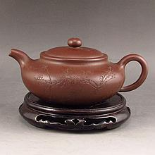 Handmade Chinese Purple Clay Teapot w Artist Signed
