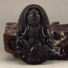 Hand-carved Chinese Natural Jade Pendant w Kwan-yin