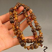 Vintage Genuine Hand Carved Chinese Ox Horn Gourd Beads Necklace