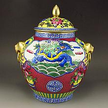 Hand-painted Chinese Gilted Enamels Porcelain Pot