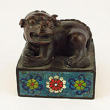 Chinese Bronze Cloisonne Carved Foo Dog Seal Statue