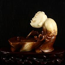 Vintage Hand Carved Natural Hetian Jade Statue - An Assistant To The Chief Local Official
