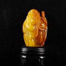 Hand Carved Chinese Natural Shoushan Stone Statue - Long Life Old Man