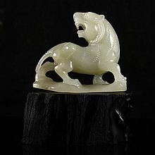 Hand Carved Natural Hetian Jade Statue - Tiger
