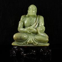 Hand Carved Chinese Natural Hetian Jade Statue - Dharma