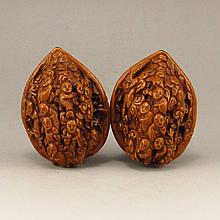 A Pair Vintage Chinese Hand Carved Art Walnut w Fortune Kids
