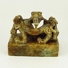Vintage Hand Carved Natural Hetian Jade Seal Statue w Dragons