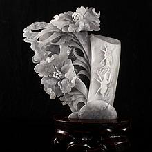 Hand Carved Natural Hetian Jade Brush Pot w Peony Flowers & Insect
