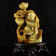 Vintage Hand-carved Chinese Natural Hetian Jade Statue - Lotus Flower Kid