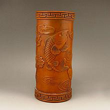 Hand Carved Chinese Natural Boxwood Brush Pot Statue w Fish & Lotus