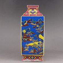 Hand-painted Chinese Enamel Square Porcelain Bottle w Yong Zheng Mark