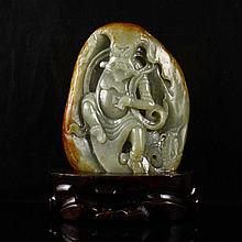 Hand-carved Chinese Natural Hetian Jade Statue - Zhong Kui Immortal
