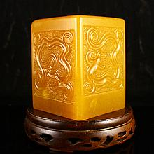 Superb Hand Carved Chinese Natural Shoushan Stone Brush Pot