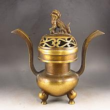 Chinese Ming Dy Style Bronze 3 Leg Incense Burner Xuande Mark