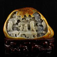 Fine Hand Carved Chinese Natural Hetian Jade Statue w Teacher & Student