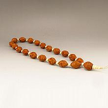 Chinese Natural Olive Core Carved Luohan Head Necklace