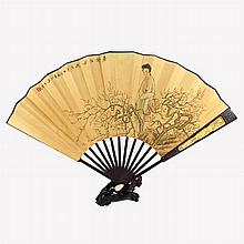 Hand Draw India Zi Tan Wood Inlay Silver Framework Beautiful Girl Fan w Artist Signature